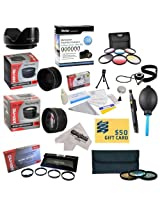 25 Piece Advanced Lens Package For The Panasonic Lumix DMC-FZ70 FZ72 & FZ70K Digital Cameras Includes 0.43X HD2 Wide Angle Panoramic Macro Fisheye Lens + 2.2x HD AF Telephoto Lens + 3 Piece Pro Filter Kit (UV, CPL, FLD) + 6 Piece Multi-Colored Graduated Filter Set + 5 PC Close-Up Set (+1, +2,+4 with 10X Macro Lens) + Flower Lens Hood + Tube Adapter + Deluxe Lens Cleaning Kit + 5PC Lens Cleanin