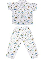 Little Stars Boys' Top and Pyjama Set (Nightsuit_Space_3-4 years, White, 3-4 years)