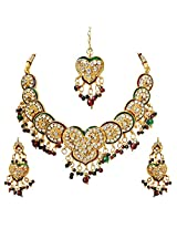 Salima:Heart & Round Motif Kundan Polki Fashion Jewellery Set
