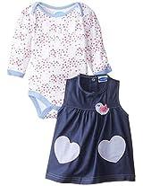 Bon Bebe Baby Girls Newborn Hearts And Tweet Bodysuit With Chambray Jumper Set By Bon Bebe