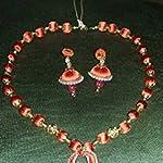 Orange Non-Precious Metal Traditional Jewellery Set