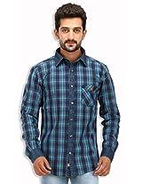 SPEAK Men's Blue Checkered Denim Indigo Cotton Casual Shirt