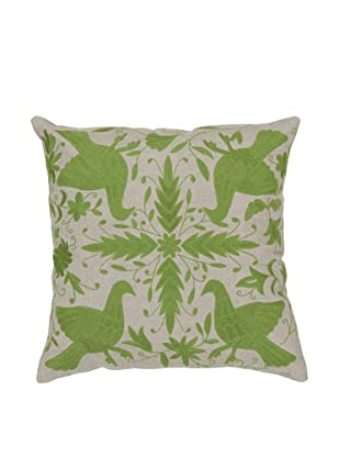 Surya Patterned Throw Pillow (Taupe/Apple Green)