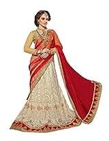 Manvaa White And Red Net Embroidered Wedding Lehenga