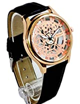 Transparent Copper Dial Analog Round Wrist Watch for Men (Copper & Black)