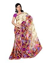 Madhavi Women Faux Georgette Lace Saree (Mvn135B _off White _Free Size)