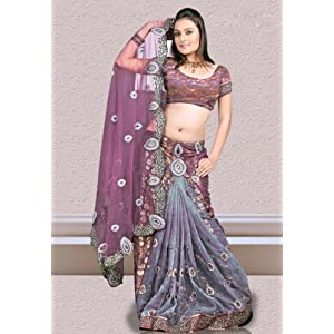 Wine Net and Faux Georgette Brasso Lehenga Style Saree With Blouse