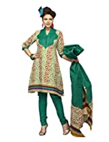 Karishma Suit - FREE Maybelline Colossal Kajal MRP 199 - s Cream-Green Floral Print Pure Cotton Unstiched Salwar Suit Dress Material For Women | KPANELPG26