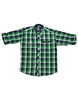 LITTLE MAN Cotton Boy's Shirt (LM12C3_16 , Green, 16)