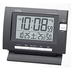 PYXIS (ピクシス) 電波デジタル置き時計 ツイン・パ 温度表示・湿度表示 ブラック BC149K