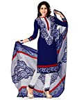 Jevi Prints Womens Polyester Unstitched Salwar Suit Dress Material (Renuka4274 _Blue _Free Size)