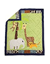 One Grace Place Jazzie Jungle Boy Medium Quilt, Light Blue, Navy Blue, Chocolate Brown, Black, Lavendar, Green
