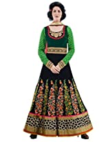 Inddus Exclusive Women Green & Black Partywear Anarkali Suit Set