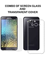 Value Combo Of HD Quality Tempered Glass and Soft Transparent Clear Back Case Cover For Samsung Galaxy E7 E700