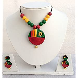 Anikalan Designs Multicolor Pendant with flower earrings Terracotta Necklace Set