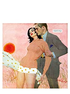 """Saturday Evening Post """"He Stopped Talking and Put His Arms Around Her..."""", 35"""" x 35"""""""
