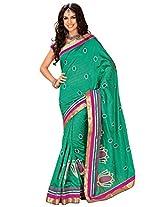 Orbymart Green Color Raw Silk Saree - 55207966