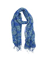 FUGEN Women's Wool Scarf (FF-2044, Blue & Green)
