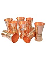 Dungri India Craft ® (Set of 8) Premium Hammered Solid Copper Jiggers - Shot Glasses - New Beer Bar Collection / Wine Glasses/Double Shot Glasses