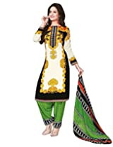 Jevi Prints Art Crepe Multicolor & Black Dress Material with Dupatta