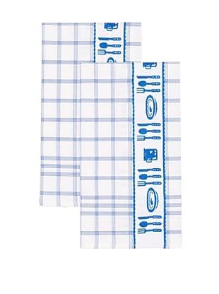 Mierco Fine Linens Set of 2 Cutlery Jacquard Tea Towels, White/Blue, 20