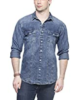 Zovi Cotton Slim Fit Casual Blue Denim Shirt With Panel Detailing And Press Buttons (11472103601_40)
