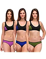 Urbaano Serena Sports Lingerie Set-Pack of Three (32, Purple / Blue / Green)