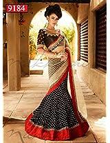 Indian Designer Black Color Party Wedding Wear Lehenga Saree