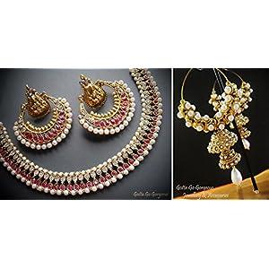 Double Jhumki & Pink Ramleela Necklace Set Combo