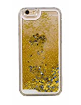 Phoenix Bling Sparkle Glitter Stars Dynamic Liquid Quicksand Clear Hard Case Frame for iPhone 6 4.7 inch - Gold Golden