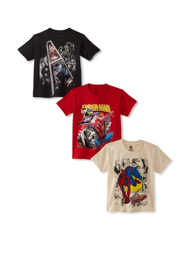 Freeze Boy's Avengers/Spider-Man T-Shirt Bundle (Black/Cream/Red)