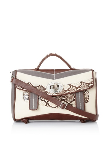 Isabella Fiore Women's Bond Street Paige Flap Handbag (Brown Snake)
