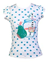Aubergine Girl's Cotton Printed Top(Offwhite/aqua, 36)