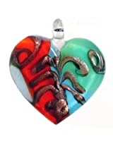 DollsofIndia Heart Shaped Pendant - Glass - Saffron