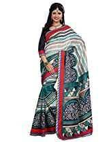 Vibes Women's Weightless Saree, With Printed Border (S29-6019A_ Multi-Coloured)