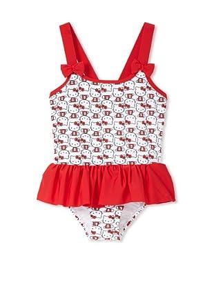 Hello Kitty Girl's 2-6X Iconic Ruffled One-Piece Swimsuit (White)