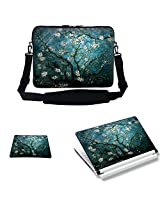 Meffort Inc 15 15.6 inch Laptop Carrying Sleeve Bag Case with Hidden Handle & Adjustable Shoulder Strap with Matching Skin Sticker and Mouse Pad Combo - Vincent van Gogh Almond Blossoming