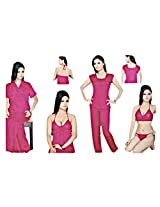 Indiatrendzs Women's Sexy Hot LINGERIE G STRING Nighty Hot Red 6pc Set Nightwear