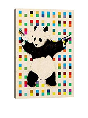 Panda With Guns Bright Dots Gallery Wrapped Canvas Print