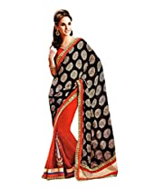 Gopalclothdesigner Georgette Resham Saree (iwgy43_Black Red)