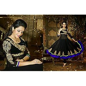 Black Velvet & Net with Embroidery & Diamond Work Unstitched Anarkali Salwar Kameez Suit