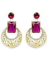 Purple Stone & White Stone Gold Plated Chandbali Shape Dangle Earrings