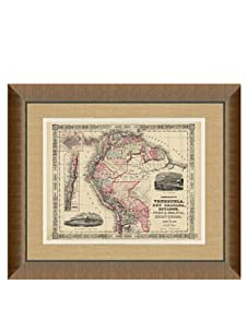 "Johnson and Ward Antique Map of Venezuela, Peru, Bolivia & Chile, 1860's, 24"" x 26"""