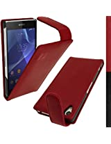 iGadgitz Premium Executive Flip Red Genuine Leather Case Cover for Sony Xperia Z2 D6503 With Magnetic Closure + Screen Protector