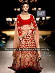 Bollywood Actress Alia Bhatt In Red Designer Lehenga At India Couture Week