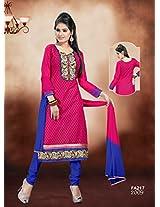 Fabfirki-The New Designer Attractive Pink And Blue Salwar Suit
