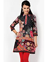 Printed Black Cotton Kurta