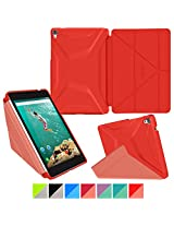 Google Nexus 9 Case, Nexus 9 Case, rooCASE Origami 3D Slim Fit Thin Lightweight Folding Leather PU Folio Cover Stand Auto Wake / Sleep Red Yellow
