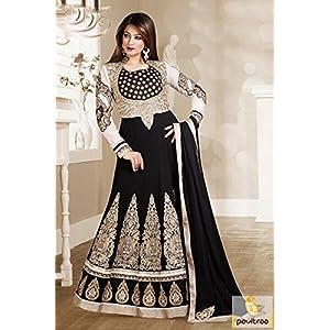 Pavitraa Anarkali Salwar Suit - Black & Off-white