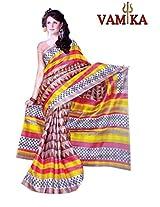 Bhagalpuri Silk Printed Yellow Bollywood Saree - VMS80038